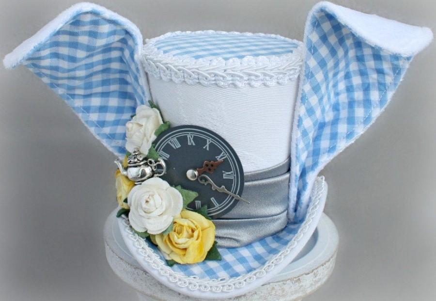 Wedding - White Rabbit Mini Top Hat, White Rabbit Costume Fascinator, Birthday Hat, Alice in Wonderland Hat, Tea Party Hat, Wedding Hat, Boys Top Hat