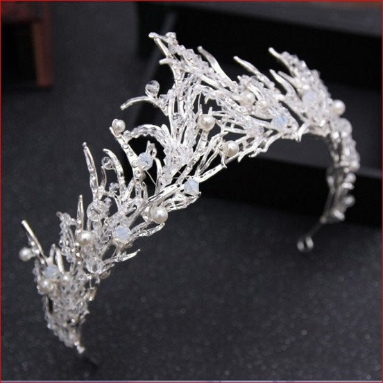 Wedding - Magnificent white freeze winter crown, silver crown for the bride, Frozen hair accessory
