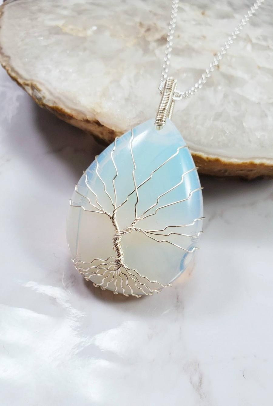 Свадьба - Moonstone Opalite necklace, Tree Of Life Necklace, Wire Wrap Jewelry, Birthday Gift for Mom, Anniversary gift for Wife, Gift for Grandma