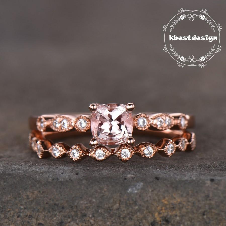 Свадьба - Rose Gold Morganite Ring Morganite Engagement Ring Set Cushion Cut Wedding Set Diamond Simulant Wedding Band Antique Style Silver Rings