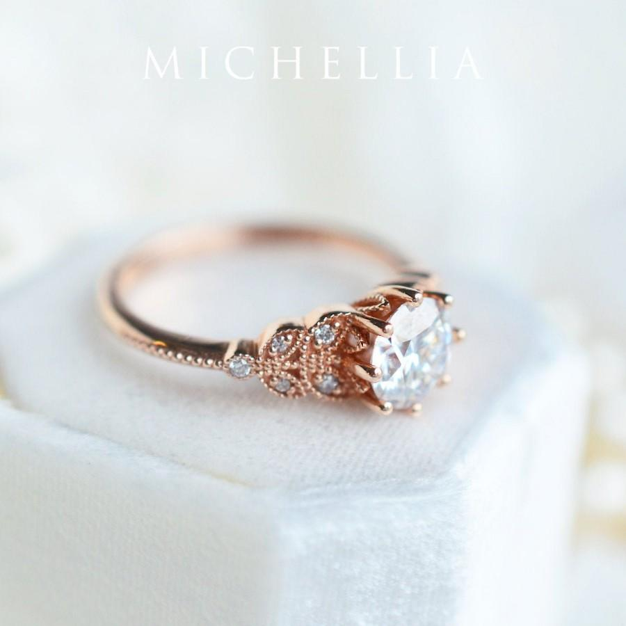 Wedding - Kerensa Moissanite Engagement Ring, Floral Moissanite Ring, Classic Floral Engagement Ring, Rose Gold Floral Ring, Leaf Engagement Ring