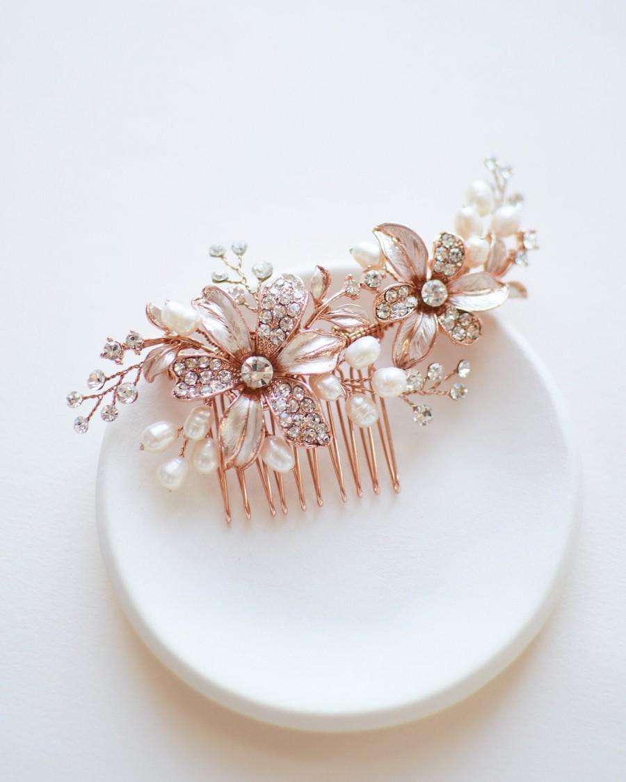 Wedding - Rose Gold Bridal Comb, Pearl Bridal Hair Comb, Pearl Wedding Comb, Wedding Hair Comb, Bridal Hair Accessory, Floral Bridal Hair Piece  ~2050