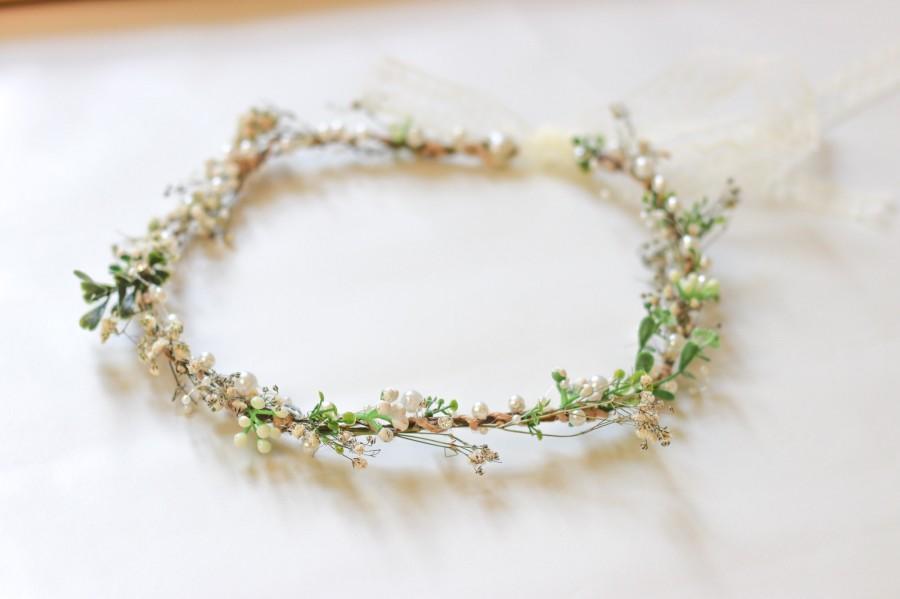 Wedding - Minimalist Bridal Ivy Crown with Wild Forest Herbs & Pearls, Bridal Hair Comb, Boho Weddings, Rustic Weddings, Romantic hair Comb