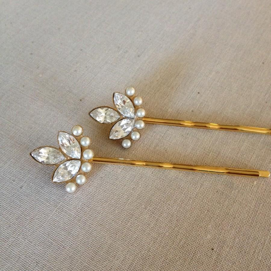Wedding - Swarovski Crystal and faux pearl hair pins, rhinestone, gold, set, gift, hair, accessory, rustic, wedding, rhinestone, bridesmaid, vintage