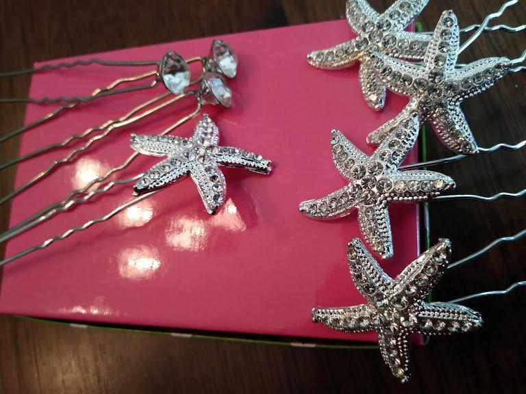 Wedding - Beach Wedding Hair Pins, Bridal Hair Clip, Crystal Pearl Starfish Pin, Bridal Hairpiece, Wedding Hair Combs, Silver Bridal Hair Accessory