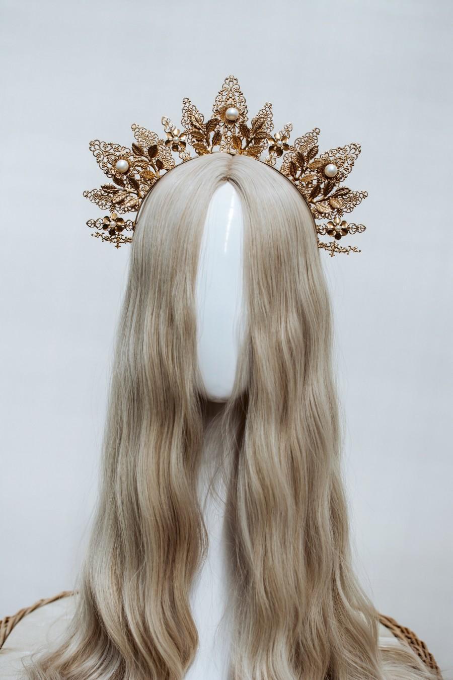 Wedding - Gold crown, Gold Headpiece, Gold Flower Crown, Boho Wedding, Boho Wedding Crown, Halo Headband, Wedding Tiara, Boho Hair Style, Halo Crown