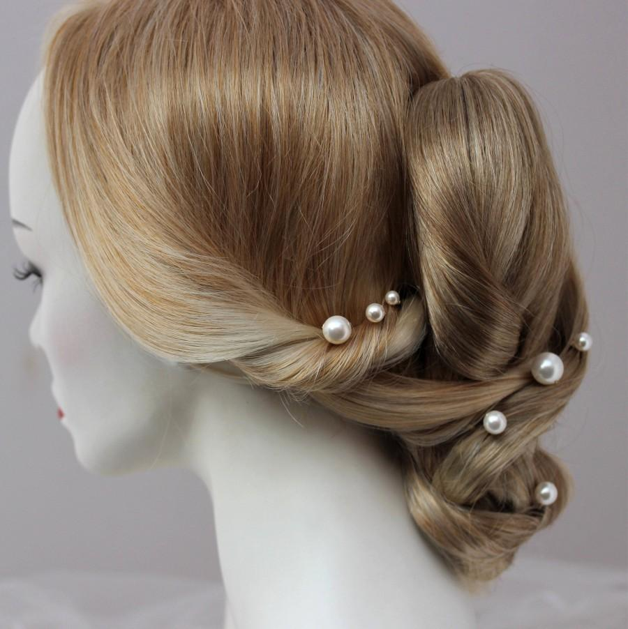 Wedding - Large Pearl Hair Pins Set of 3, 5 or 7 Statement Pearl Bridal Hair Accessory for Bride or Bridesmaid, Mixed Pearl Sizes to wear Side or Back