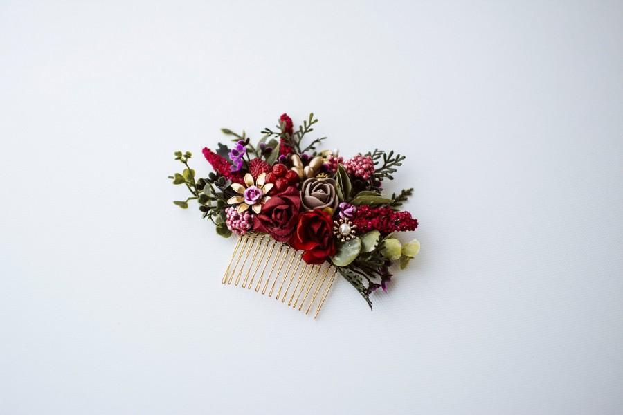 Wedding - Burgundy meadow boho wedding flower hair comb, flower hair jewerly, hair jewelry, hair comb, wedding hair style, boho wedding