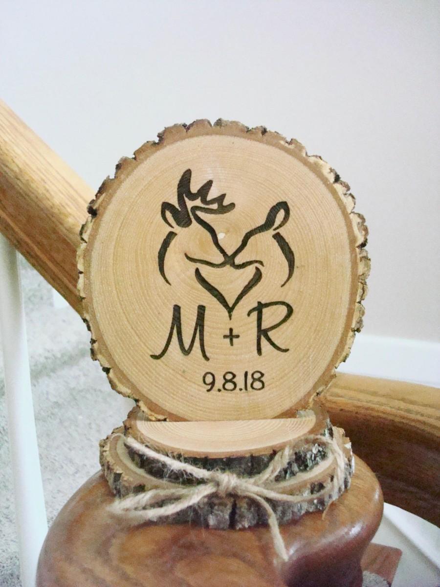 زفاف - Rustic Wedding Cake Topper, Deer Hunting Cake Topper, Wood Keepsake for Wedding, Personalized Wedding Cake Topper, Buck and Doe