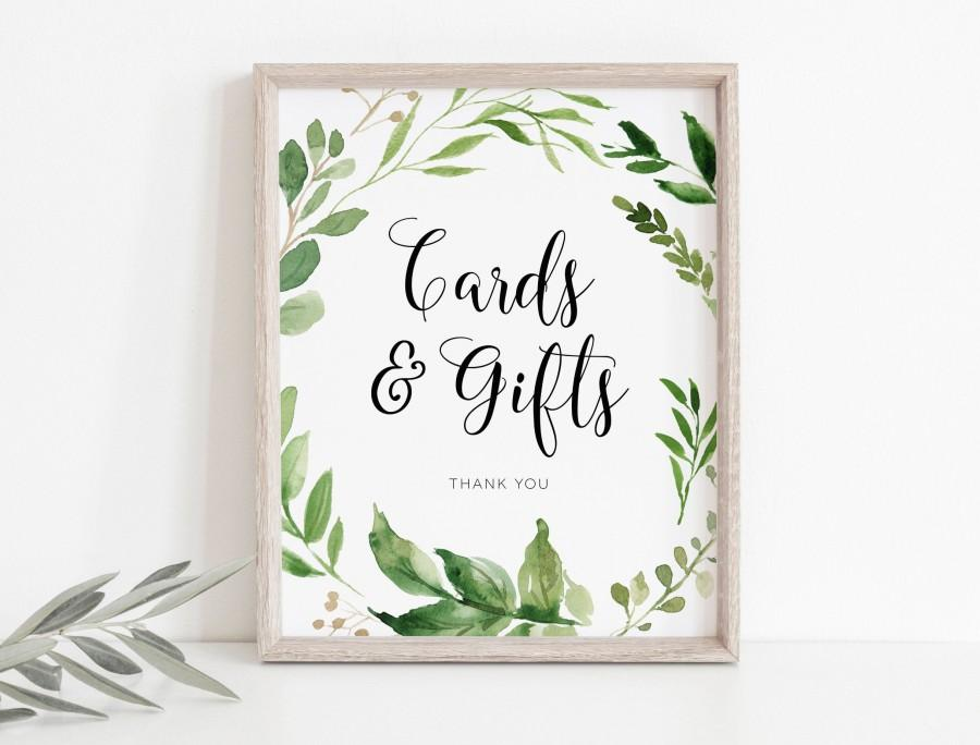 زفاف - Cards and Gifts Sign, Greenery Cards Sign Template, Printable Cards and Gifts Sign, TEMPLETT, Shower Sign Template, WLP-EUC 829