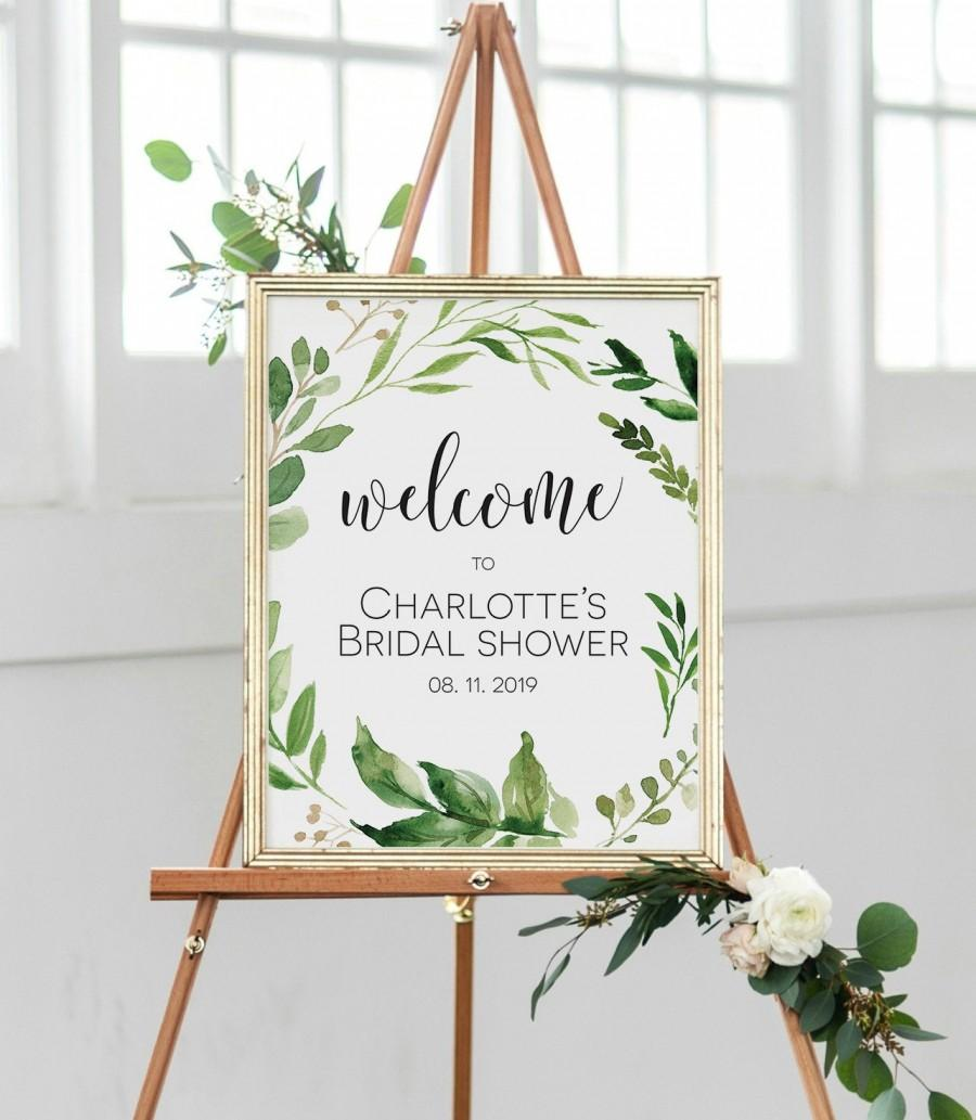 Wedding - Welcome Sign Poster, Greenery Welcome Sign, Baby Shower Welcome Sign, Bridal Shower Welcome Printable, Edit with TEMPLETT, WLP-EUC 767