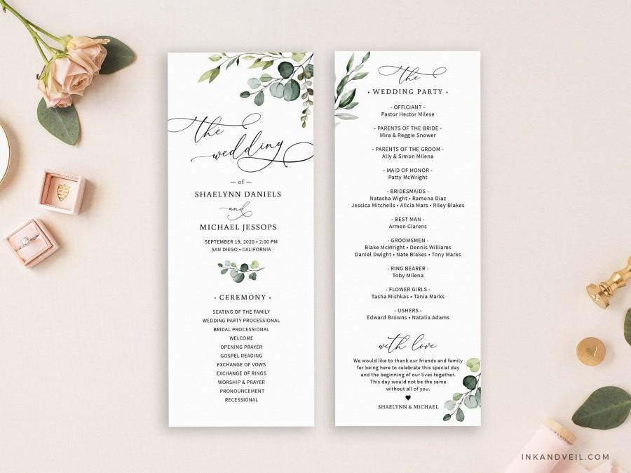 زفاف - Editable Wedding Program Template, Greenery Wedding Ceremony Programs, Eucalyptus Leaves Program Instant Download 3.5x9 - IAV-006D
