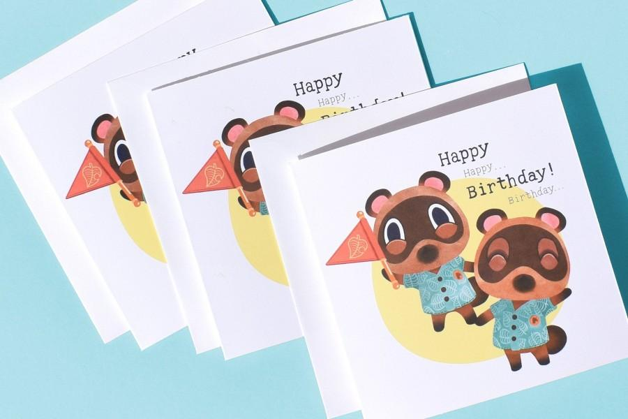 زفاف - Timmy Tommy Happy Birthday Card / ACNH / Animal Crossing New Horizons / Nintendo Switch