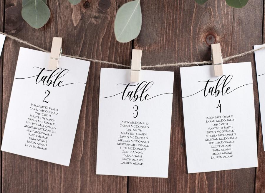 زفاف - Seating Chart Cards, Table Seating Chart, Wedding Seating Cards, Script Seating Cards, 2 Sizes, Edit with TEMPLETT, WLP-SOU 914