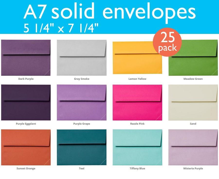 """Wedding - A-7 Solid Matte Envelopes (5 1/4"""" x 7 1/4"""") (25 Envelopes)"""