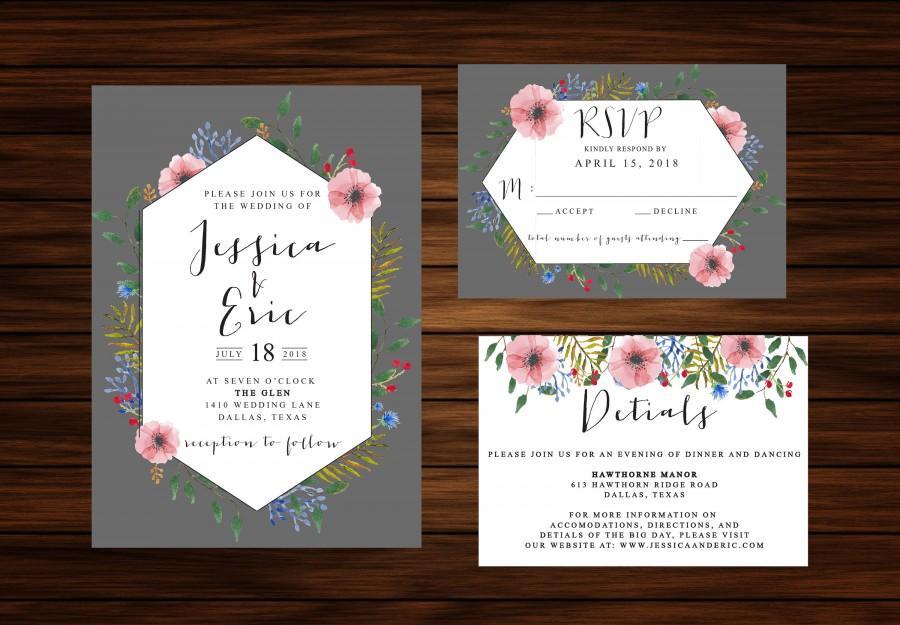 زفاف - Geometric Watercolor Floral Wreath Wedding Invitation by PrintablePapery [printable]