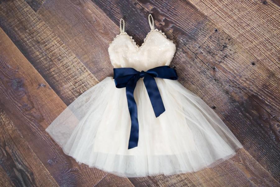 Hochzeit - Ivory Flower Girl Dress, Cream Sequin Dresses, Teen Ivory Sequin Dress, 1st Birthday Dress, Beach Wedding Gown
