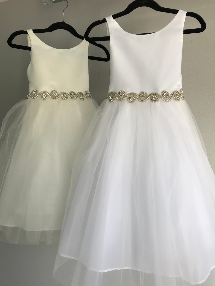 Hochzeit - Tulle Satin Flower Girl Dress with Crystal Pearl Bridal Belt Sash  Big Bow Baby Dress Baby Satin Dress Baby Baptism Dress