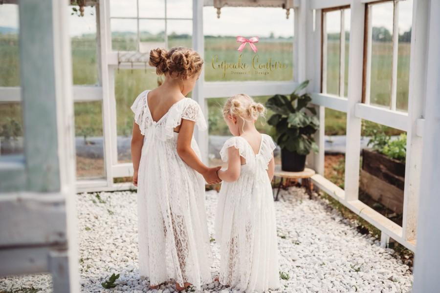 Wedding - White Flower girl dress, long sleeve flower girl, baptism dress, rustic flower girl, First Communion dress, flower girl dress