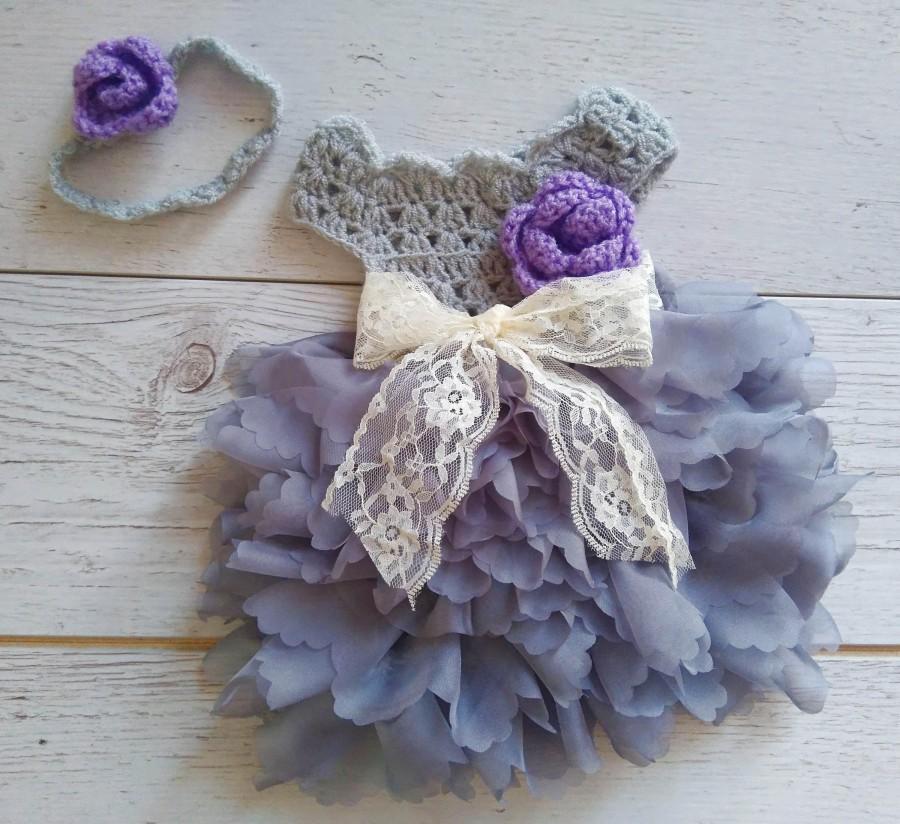 Hochzeit - Grey Purple Flower girl dress, tutu dress,bridesmaid dress, princess dress, crochet top tulle dress, hand knit top tutu dress