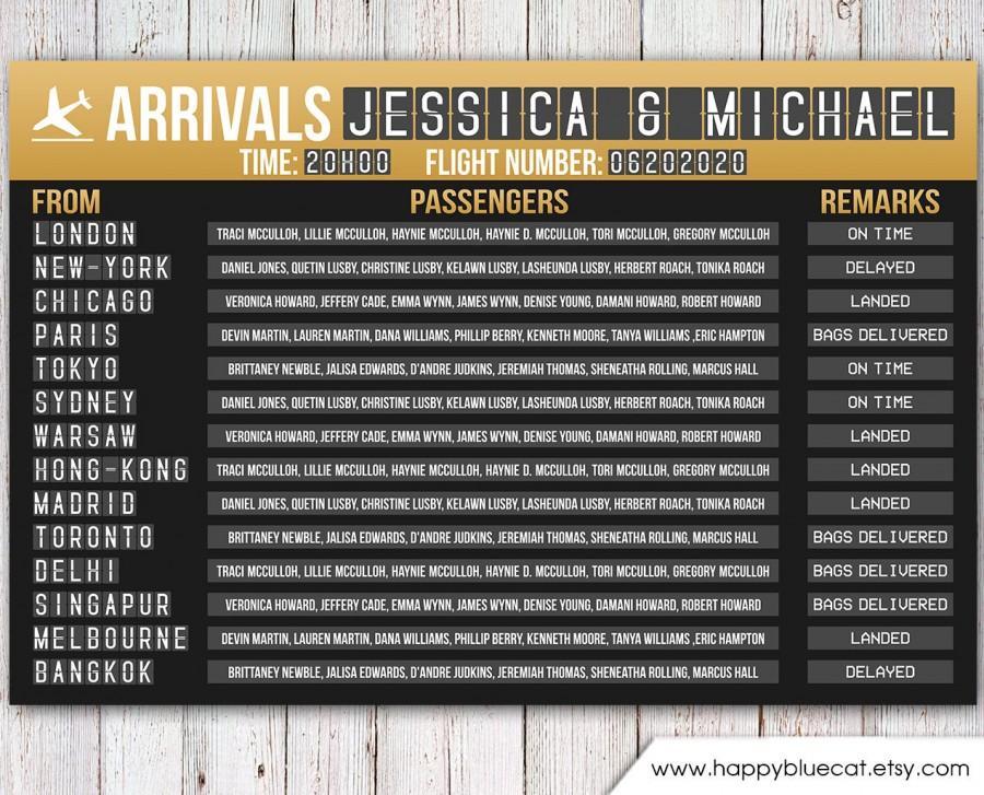 Свадьба - Wedding Seating Chart - RUSH SERVICE - Travel Arrivals Airport Wedding Seating Chart Reception Poster - GOLD - Digital Printable File HBC_A