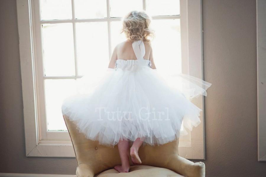 Wedding - Flower Girl Tutu  Dress, Gray White Tutu Dress Chiffon Roses - SEWN Ivory, White, Off White for Girls, Toddler Flower Girl Dress, Baby Dress