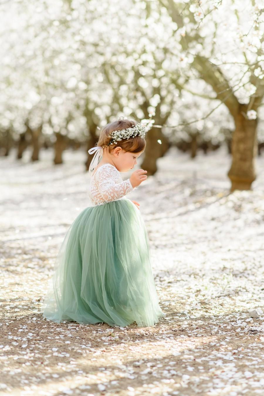 Wedding - Full Length Sage Green Tulle Lace Top Scalloped Edges Back Party Flower Girl Dress