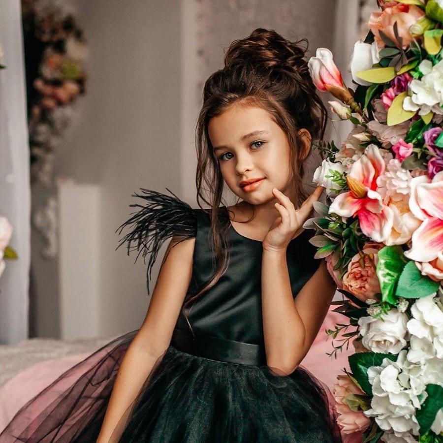 Wedding - Black flower girl dress, Black girl dress, Black tulle flower girl dress, Toddler black dress, Feather flower girl dress, Black satin dress