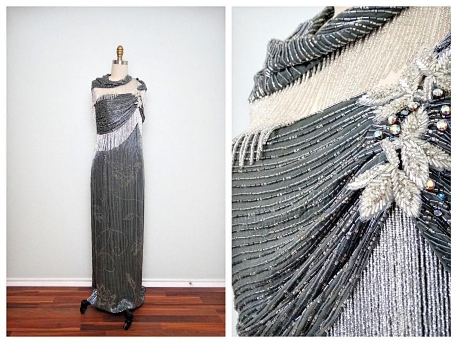 Wedding - Neiman Marcus Crystal Beaded Gown  // Gray & White Fringe Beaded Vintage Glamour Gala Formal Dress