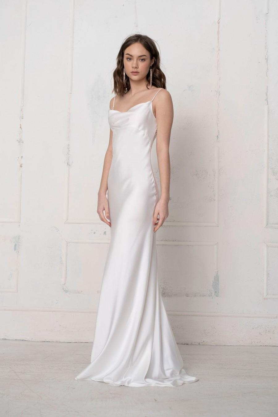 Wedding - FLORIAN simple wedding dress Satin beach prom bridesmaid wedding off the shoulder  Long ivory cocktail with a train mermaid  dress