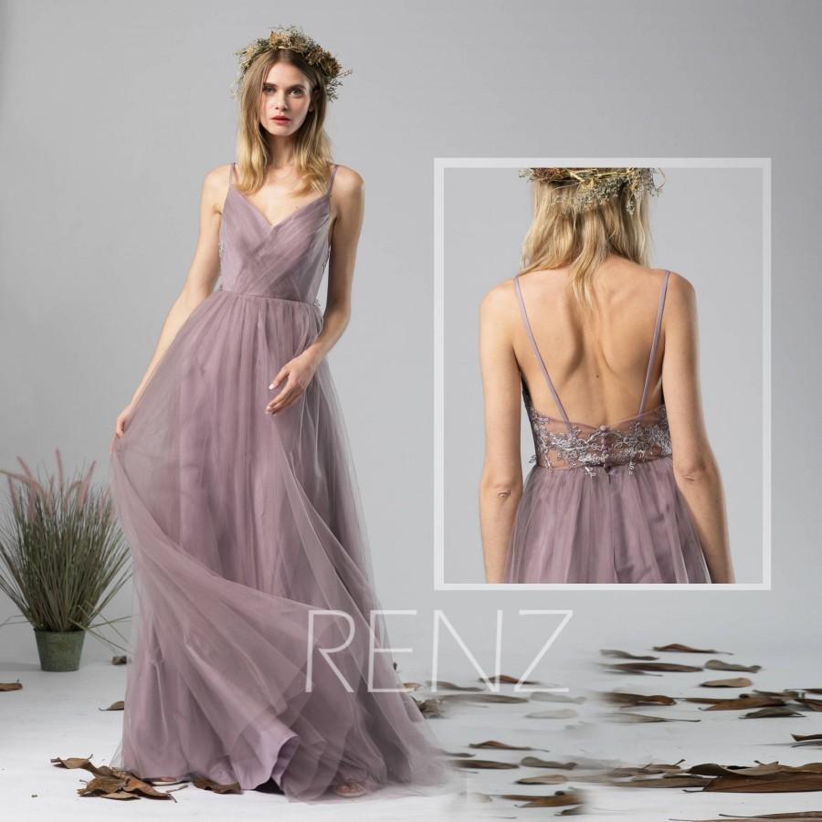 Wedding - Bridesmaid Dress Dark Mauve Tulle Dress Wedding Dress Ruched V Neck Spaghetti Strap Maxi Dress Illusion Lace Back A-line Prom Dress(HS579A)