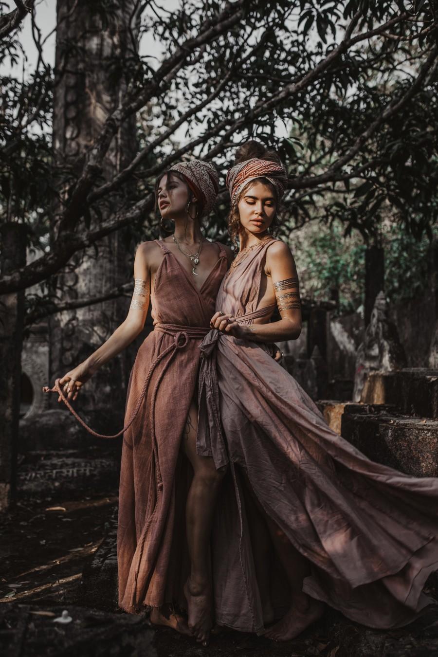 Wedding - Dusty Pink Boho Bridesmaid Dress • Bohemian Goddess Dress Long • Organic Multiway Dress • Prom Maxi Dress for Women • Infinity Maxi Dress