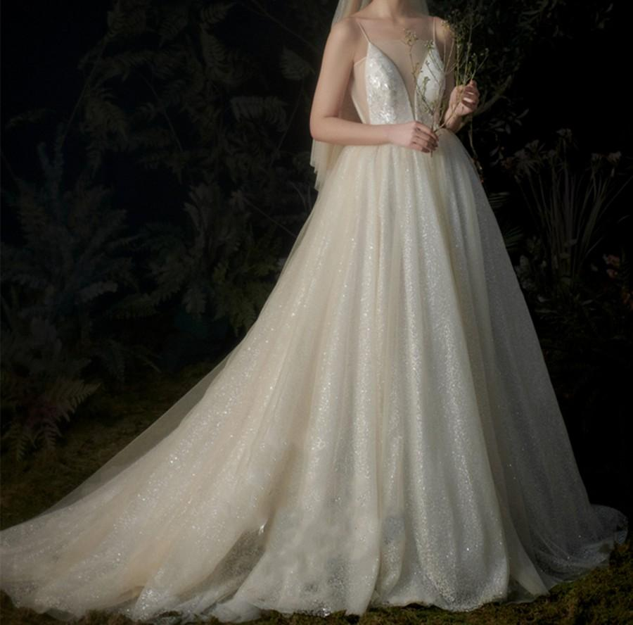Wedding - Sparkly Starry Bridal Wedding Dress Light Champagne Lace Wedding Dress Vintage Straps Bridal Dress Deep V Wedding Dress Backless Bridal Gown
