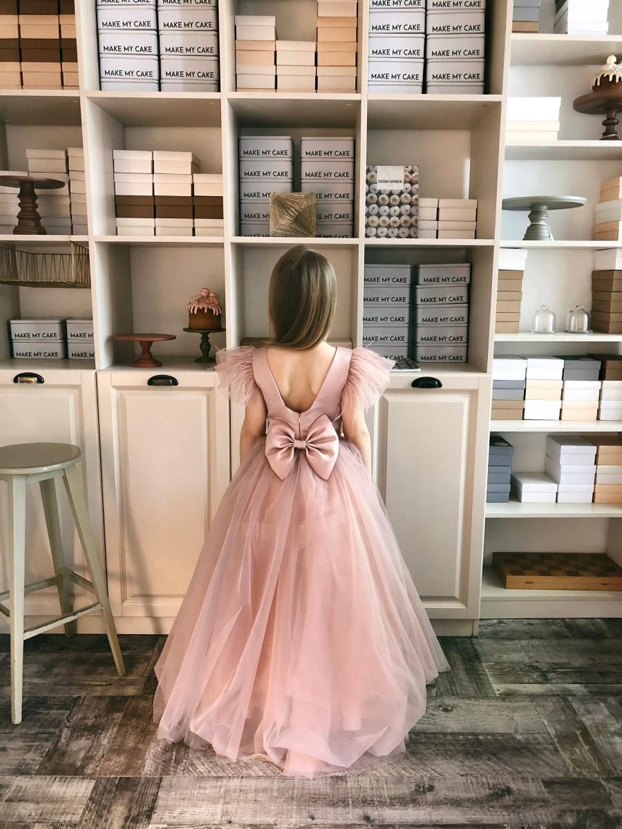 Wedding - flower girl dress blush, junior bridesmaid dress white, flower girl dress gold, special occasion girls dress, flower girl dress mauve