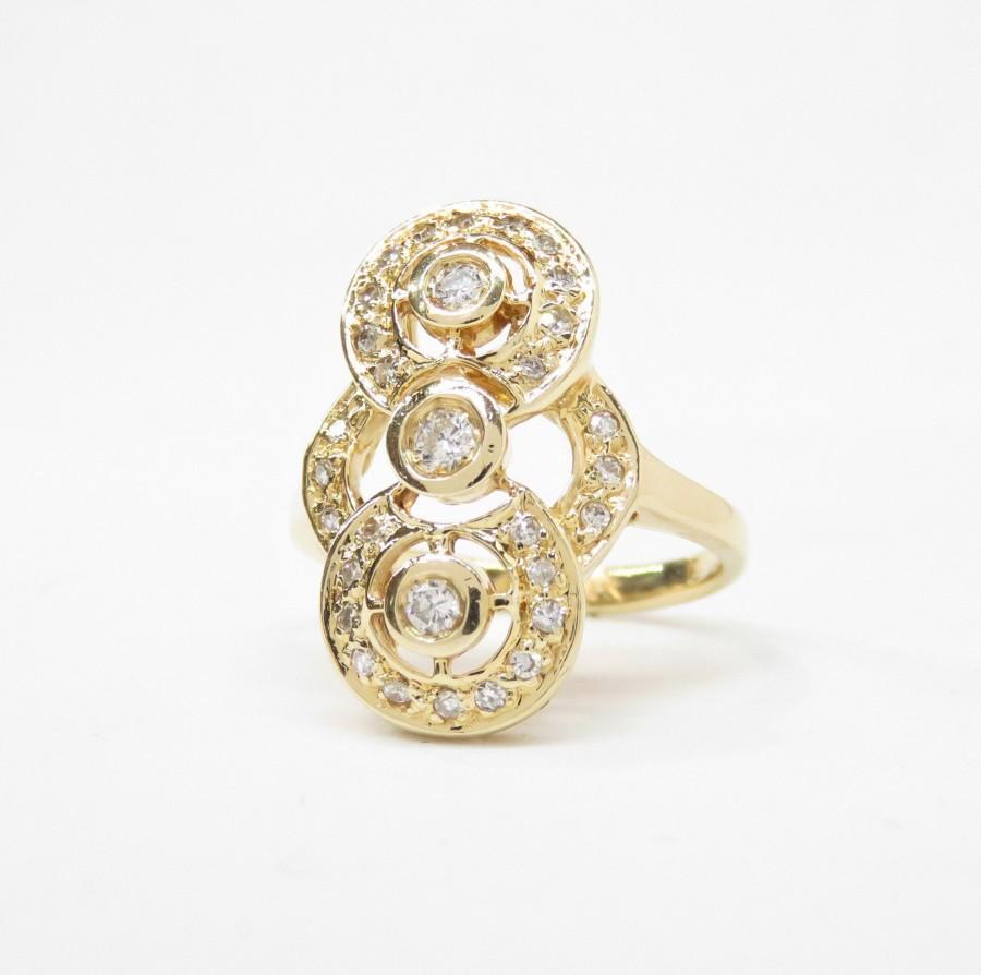 Wedding - 14k Gold Diamond Statement Ring; Vintage Diamond Ring; Multistone Ring; Art Deco Style Diamond Dinner Ring; Vintage Engagement Ring;
