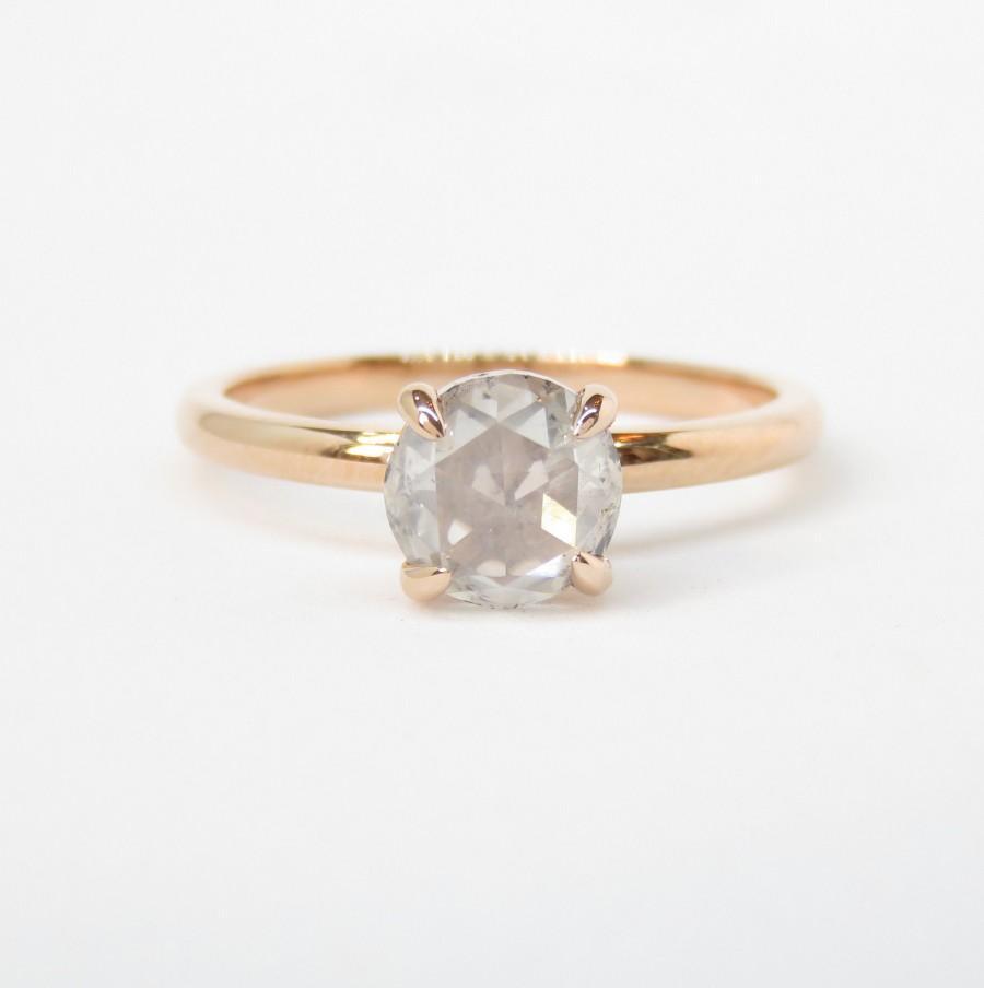 Mariage - 14k Rose Gold Rose Cut Diamond Ring; One Carat Diamond Engagement Ring; Rose Cut Engagement; Minimalist Ring; Natural Diamond; 1 Carat