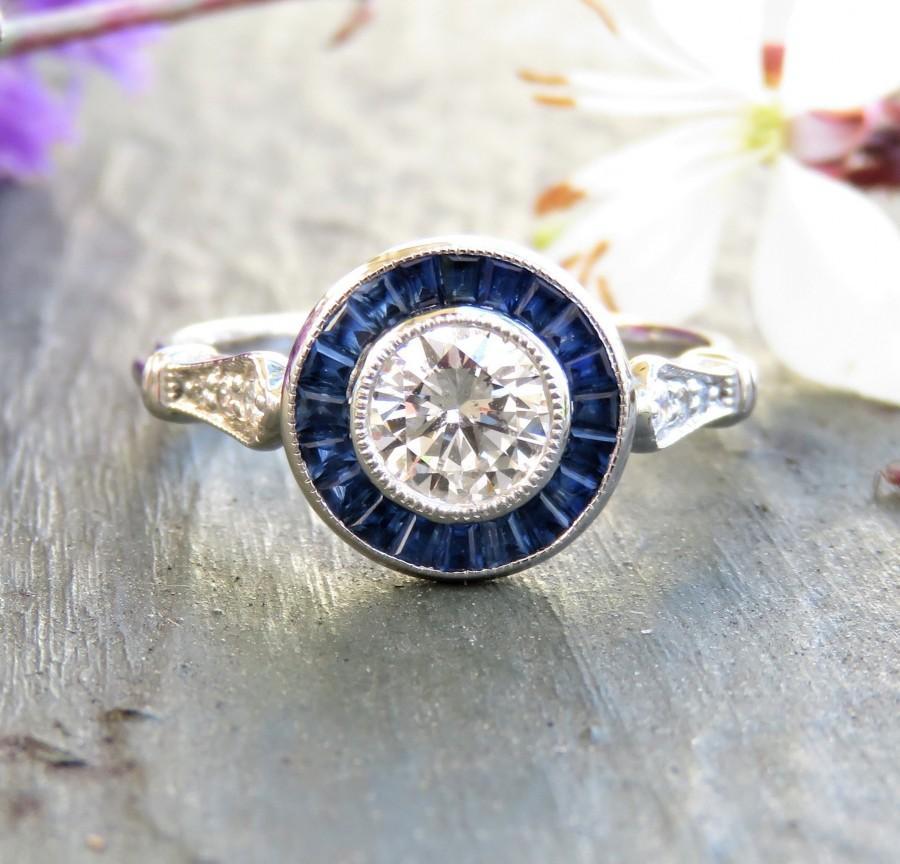 Mariage - 14k Gold Art Deco Diamond and Sapphire Halo Engagement Ring; GIA Certified Diamond; Art Deco Ring; Vintage Engagement; Vintage Diamond Ring
