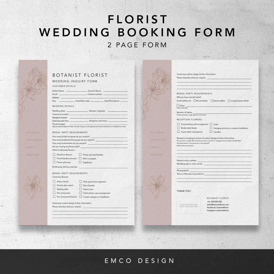 Wedding - Florist Wedding booking form