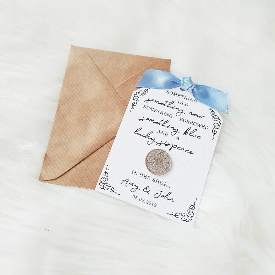 Wedding - Something Old, Something New, Something Borrowed, Something Blue and a Lucky Sixpence in her Shoe - Personalised Lucky Sixpence Wedding Card