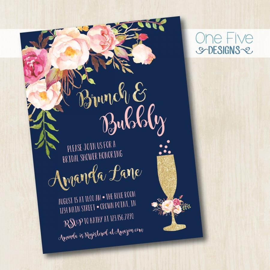 Wedding - Brunch & Bubbly Bridal Shower Invitation with Flowers (navy, gold, pink, blush)  - Printable (5x7)