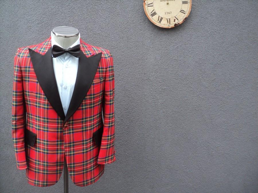 Wedding - 1970s Vintage Tartan Plaid Tuxedo Jacket / 70s Vintage Stewart Tartan Tuxedo Size 38R Medium Med M / Wedding Tuxedo / Union Made in Canada