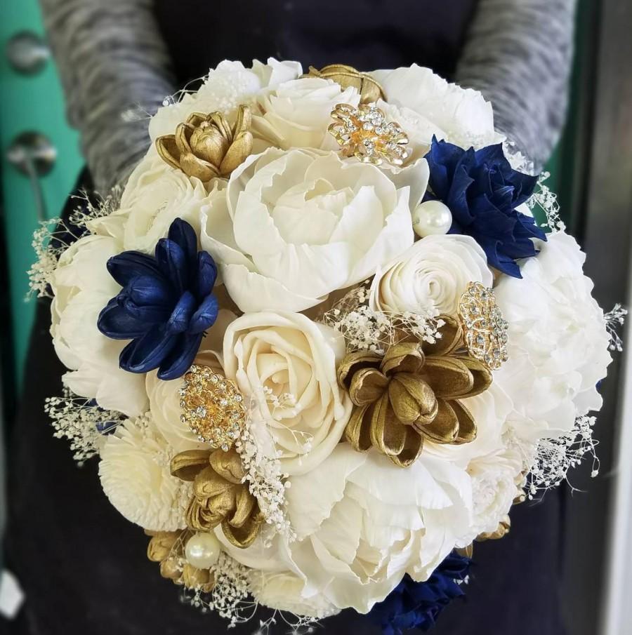 Wedding - Sola flower bouquet,  wooden bouquet,  navy blue and gold, brooch bouquet, sola flower arrangement,  rustic wedding flowers,  dried flowers