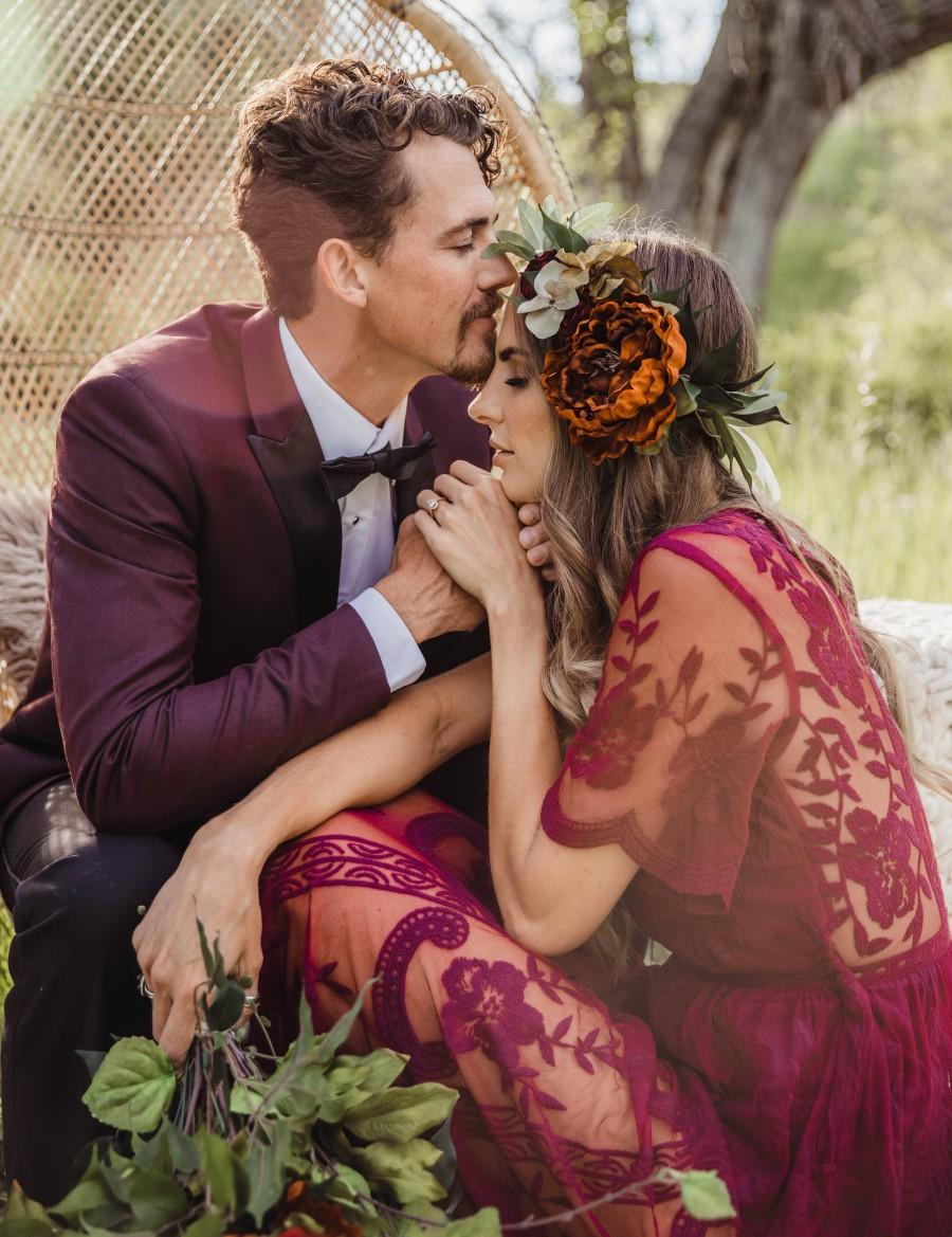 Wedding - Large burnt orange flower crown - Mediterranean floral halo - wedding hair accessory - bohemian greenery flower wreath