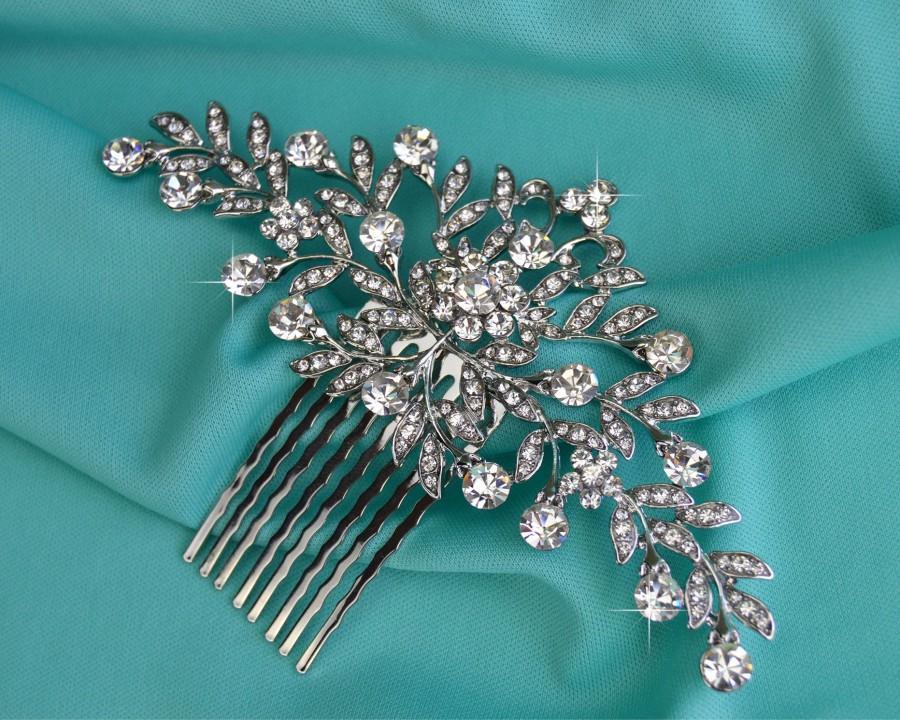 Wedding - Silver Wedding Hair Comb, Rhinestone Bridal Comb, Crystal Wedding Hair Comb, Vintage Look Headpiece, Bridal Side Comb CO-025