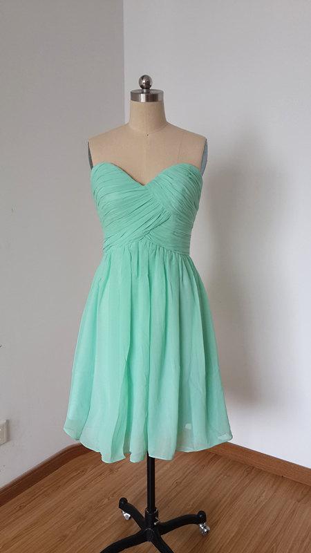 Wedding - 2015 Popular Sweetheart Mint Chiffon Short Bridesmaid Dress