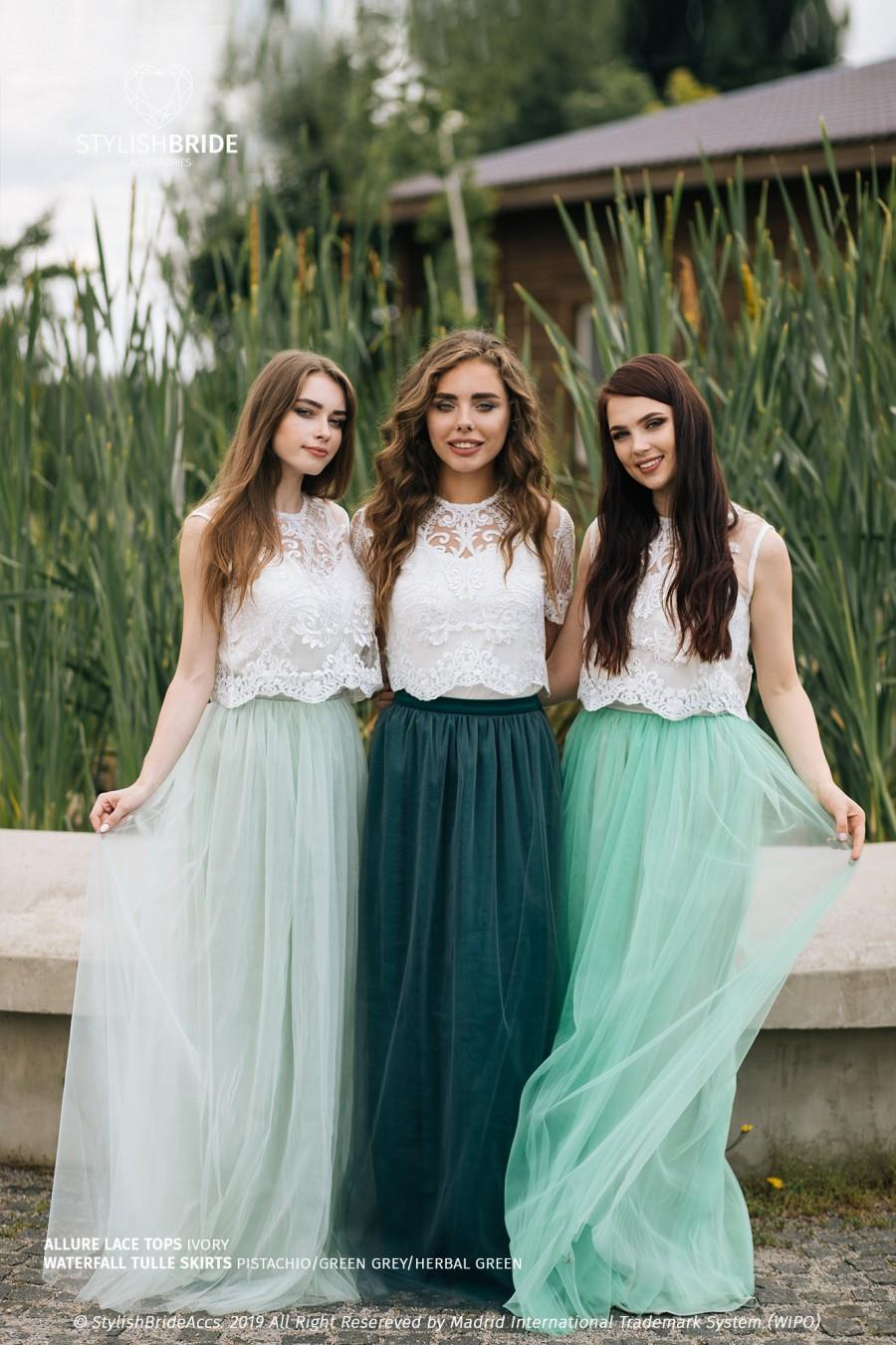Wedding - Boho Green Grey Palette Bridesmaid Separates 2020: Pistachio/Green Grey/Herbal Green Waterfall Tulle Skirt and Allure Lace Tops Plus Size