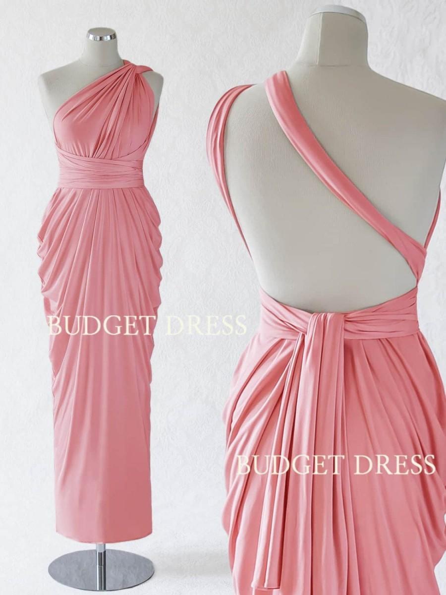 Wedding - Blush Pink Convertible Bridesmaid Dress, Infinity Wedding Party Dress, Long Summer Greek Dress, Multi Wear Evening Gown, Bridal Shower Dress