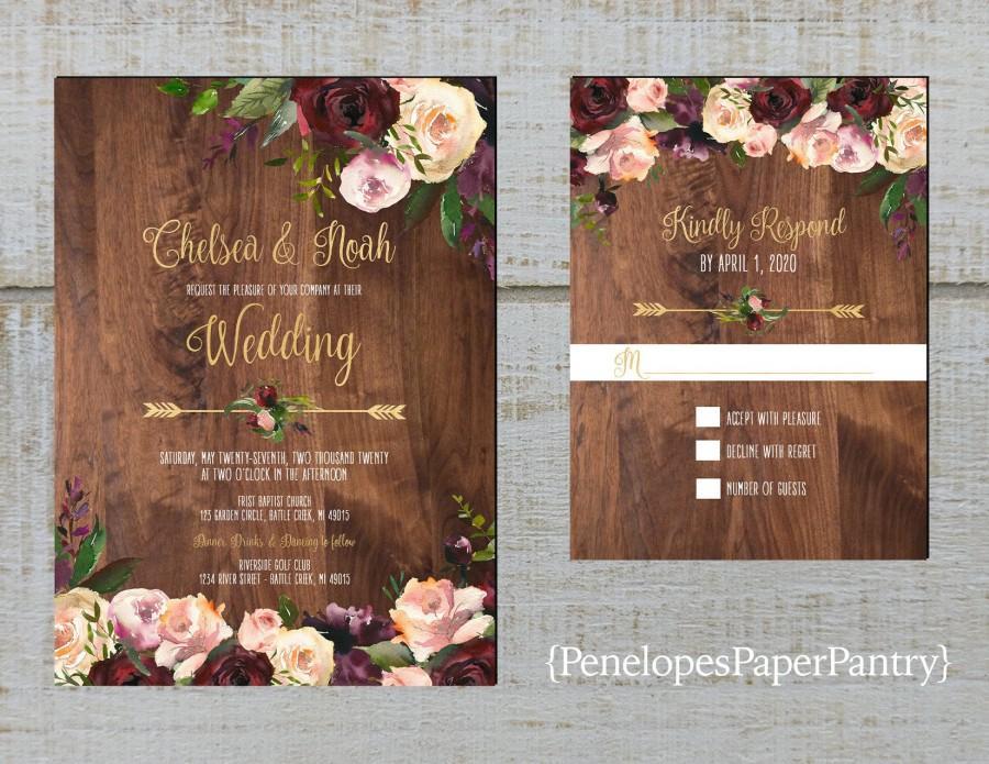 Wedding - Rustic Floral Fall Wedding Invitation,Burgundy,Blush,Pink,Roses,Greenery,Floral Arrow,Barn Wood,Gold Print,Shimmery,Printed Invitation