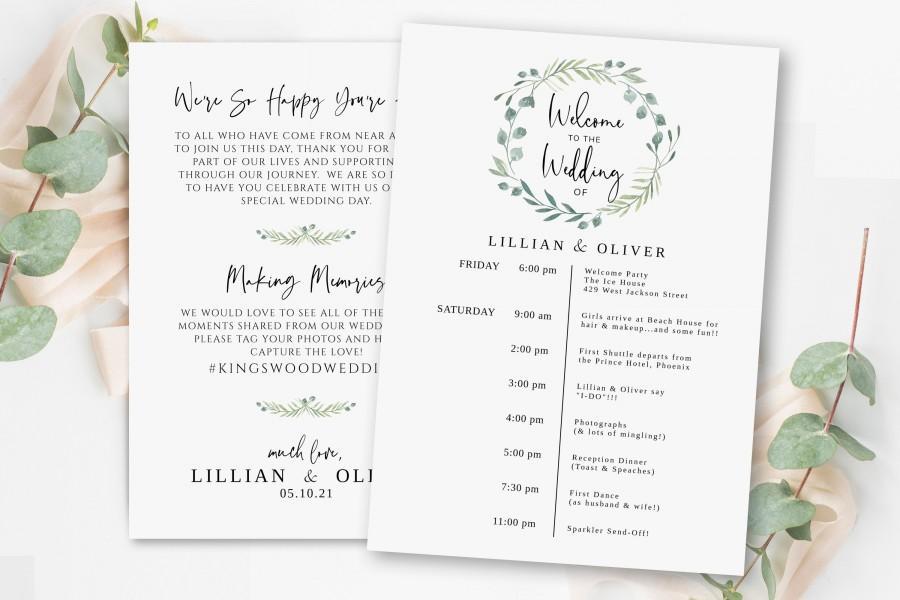 Wedding - Greenery Wedding Program Template, Printable Wedding Itinerary, Wedding Timeline Template, 100% Editable Wedding Template, Itinerary Card