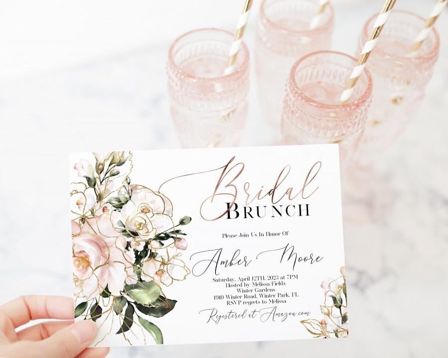 Mariage - Pink Floral Bridal Brunch Invitation Template, Blush Bridal Shower, Rose Gold Greenery, Garden Shower , Editable Template, Corjl, WP382